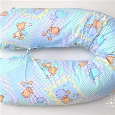 Perna pentru gravide 3 in 1 si alaptare hipoalergenica Blue Teddy Bear